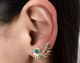 Brass Ear Climber - Brass Ear Crawler - Ear Climber Earrings - Long Ear Climber - Ear Crawler Earrings - Gemstone Ear Climber (EC40GP)