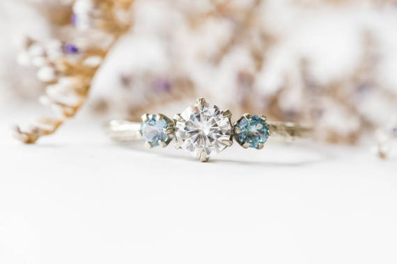 Moissanite and  Kornerupine 14k three stone engagement ring,  Kornerupine engagement ring, moissanite three stone twig ring, 14k twig ring