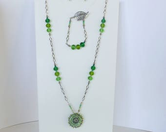 Necklace, Earrings and Bracelet set. lampwork glass mandala and beads