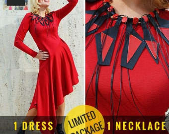 2 IN 1: Red Jersey Dress TDK277 and Genuine Leather Necklace TLJ64 by TEYXO, LIMITED