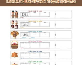 Primary Sharing Time Assignment Wristbands I am a child of God THANKSGIVING Reminder bands prayer scripture talk