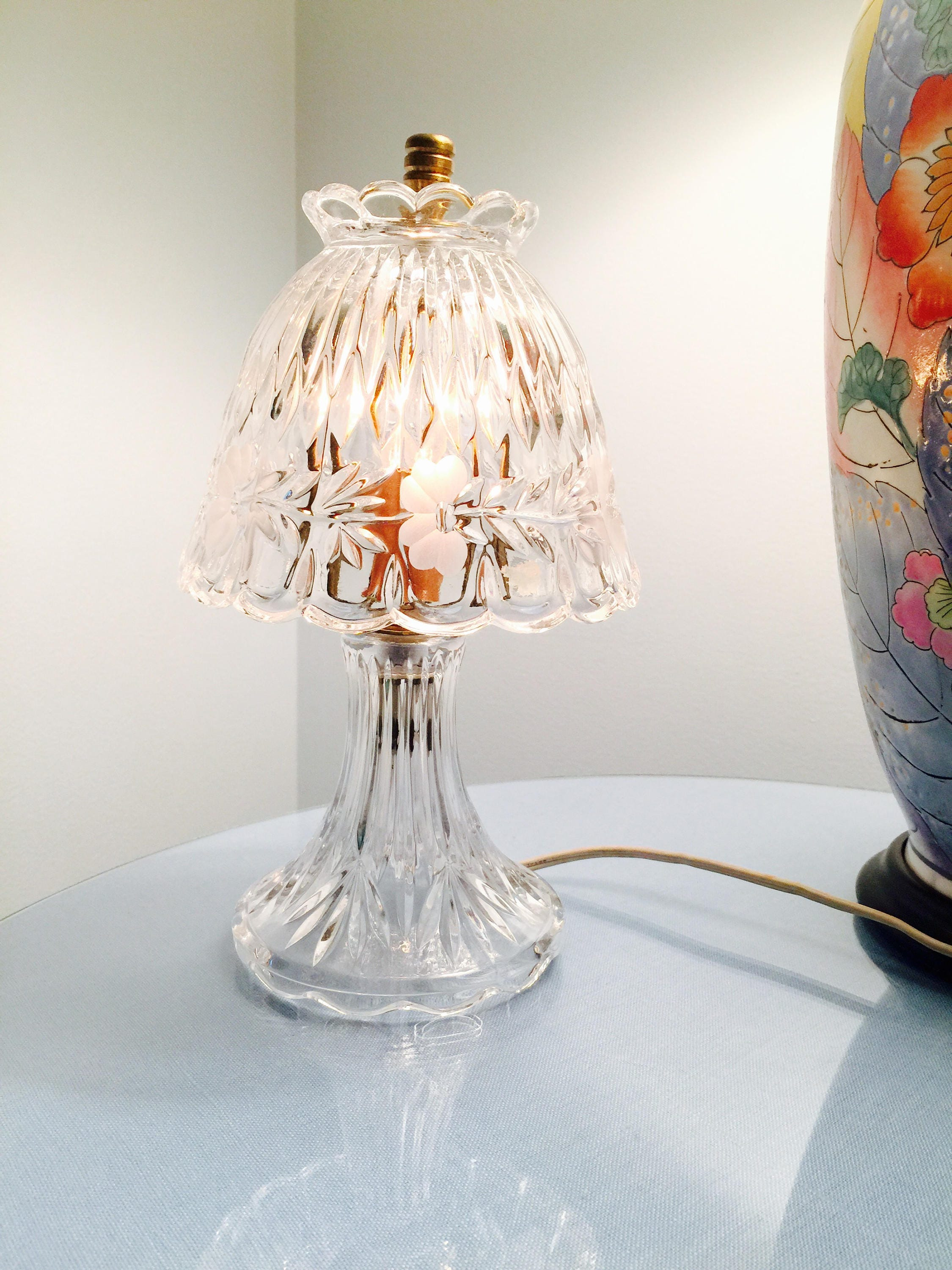 Vintage Small Crystal Lamp Etched With Scalloped Edges Night