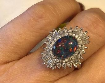 Natural Black Opal Engagement Ring 10x8mm Black Opal Triplet .92ct Natural Diamond White Gold Art Deco Ring Birthstone pristine Custom Rings
