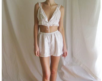 90s White Satin Sleep Shorts XS S