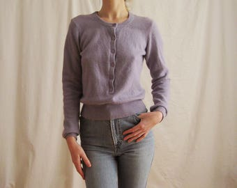 90s Orchid Angora Sweater XS S M