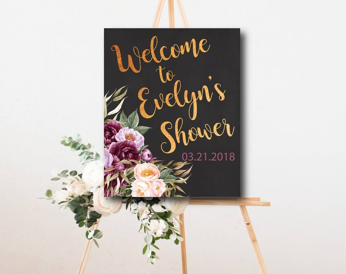 """Burgundy Floral Welcome Sign // Any Occassion // Peonies // Gold // 8x10"""" // 11x16 // Watercolor // Chalkboard // FLORENCE COLLECTION"""