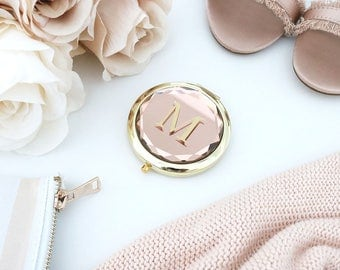 Personalized Jewel Compact Mirror - Champagne, Black, Pink, Teal - Unique Bridal Party Gifts