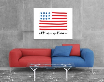 all are welcome, 4th of July party printable, July 4th decor, 4th of July decorations July 4th party, July 4th printable