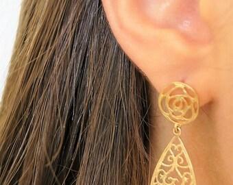 EASTER GIFTS, Filigree Teardrop Earrings, Filigree Gold Earrings, Lace Earrings, Gold Filled Earrings, Teardrop Dangle Earrings, For Her