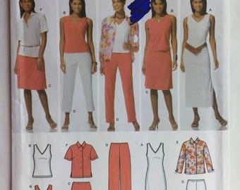 Simplicity Pattern 4992 Wardrobe for Tank Dress, Tops, Pants and Skirt Sizes 10-18 uncut