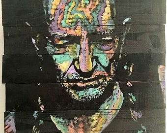 Willie Nelson Art by Matt Pecson Reclaimed Wood Wall Art Pallet Art Wood Art Rustic Home Decor Rustic Decor Best Selling Items MADE TO ORDER