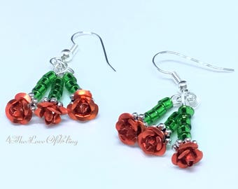 Gorgeous Red Roses ~ the flowers of passion and love. Nickel free / silver plated stainless steel