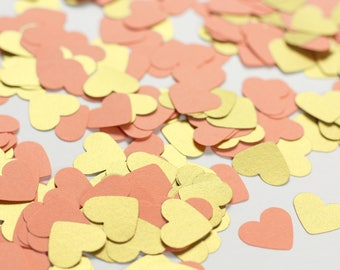 500 Coral and Gold Confetti Hearts - Gold Coral Wedding Decor - Coral Bridal Shower