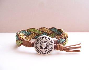 Southwestern Flower Beaded Braided Leather Wrap Cuff Bracelet, Beaded Leather Cuff, Flower Bracelet, Flower Jewelry, Leather Jewelry