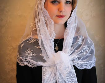 Evintage Veils~ Pure White Floral  Vintage Inspired Lace Chapel Veil Scarf Mantilla Shawl