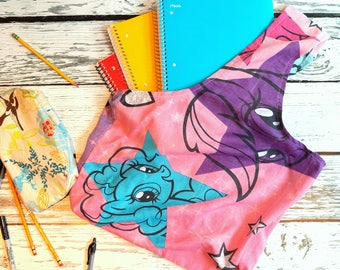 Reusable Fabric Shopping Tote Bag - My Little Pony (pink, blue, purple) - Upcycled, Repurposed, ecofriendly - beach bag, library tote