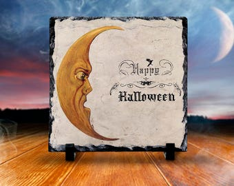 Halloween Decor Natural Slate Sign, Happy Halloween with Moon, Halloween Decor Display Sign, Square  Slate Sign with Feet for Display