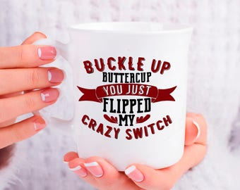 Sarcastic Mug Gift, Buckle Up You Just Flipped My Crazy Switch, Funny and Humorous Mug, Birthday Retirement Coworker Boss Gift Idea