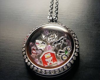 Country Girl Floating Locket Necklace-Farm Girl-Gift Idea