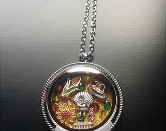 Thanksgiving Floating Locket Necklace-Autumn Harvest-Gift Idea