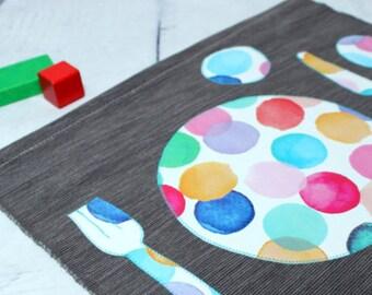 Kids Place Mat, Montessori Placemat, Toddler Fabric Placemats, Boy  Placemat, Grey,