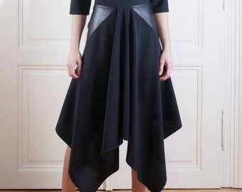 Asymmetrical Dress / Sexy dress/ black modern dress dress/ black dress/ leather detail dress
