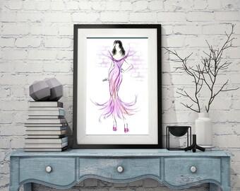 Fashion illustration, Pink fashion art, Pink dress sketch, Pink wall art, Fashion wall art, Fashion sketch, Fashion print, Pink dress print