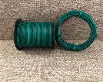 1.5mm Round Leather Cord Turquoise Natural Dye 1 Yard to 25 Yards 1.5mm Leather Cord  - LCR1.5-3017