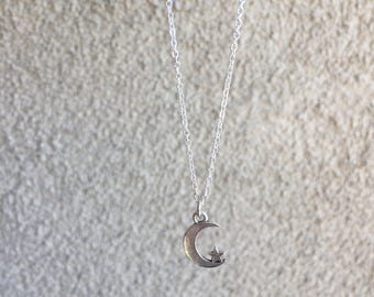 Moon and Star Silver Chain Necklace