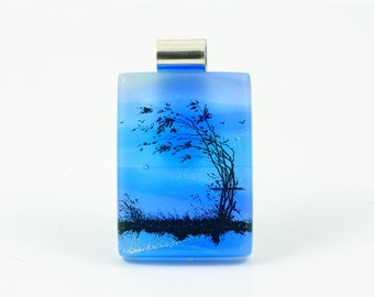Fused Glass Landscape Pendant-Dichroic Glass Pendant Windswept Tree on Lake-Fused Glass Jewellery-Dichroic Jewelry- Fused Glass Art. JBT491