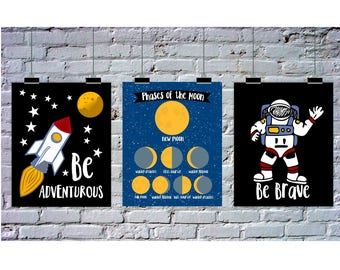 Space Theme Bedroom, Instant Download, 3 Piece Wall Art, Astronaut Art, Rocket Ship, Phases of the Moon, Science, Be Brave, Be Adventurous