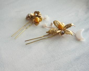 Moon and Stars Hair Accessories, Mustard  Hair Pins, Stellar, Boho Wedding, Boho bride, Bridal Hair Accessory, Gold Wedding, Wedding Hair