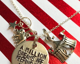 "Greatest Show Man Inspired Hand-Stamped Necklace - ""A Million Dreams Are Keeping Me Awake"""