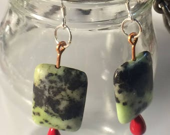 Molted Greens and Brown Square Stone Drop Earrings