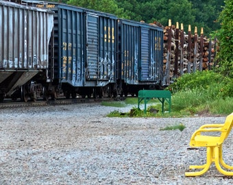 Benching: Train are, graffiti. Frame not included. Individually photographed and printed by Frank Heflin