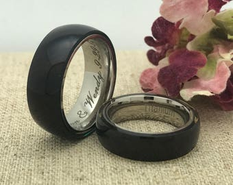His and Hers Wedding Ring Set, Personalized Custom Engraved Titanium AND Wood Ring, Wedding Rings, Promise Ring, Couples Ring Set