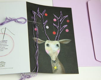 """3 x Greeting card """"little deer"""" that can be embroided + 3 envelopes"""