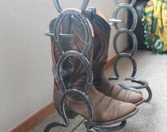 Horseshoe boot rack holds 2 pairs