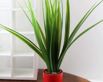 Tall Tropical Plant, Red Pot - Miniature Modern decor, 1/12 or 1/6 scale