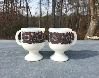 2 Milk Glass Flower Print Pedestal Mugs, Footed Mugs, Milk Glass Mugs, Flower Mugs, Kitsch Mugs, Retro Mugs, Two Mugs, Coffee Mugs, Tea Cups