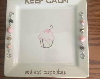 Dessert platter, cupcakes, hand-painted, beaded, Keep Calm, entertaining, birthday, hostess gift, Keep Calm and Eat Cupcakes