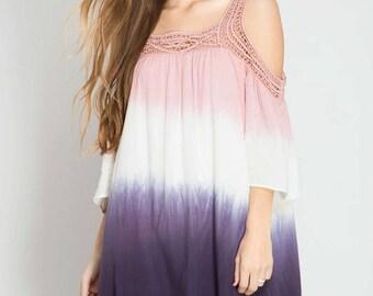 Tie dye dress - Women's crochet detail ombre dress