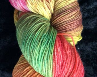 Hand dyed yarn, DK weight yarn, sock yarn,  Superwash merino wool, nylon,ready to ship