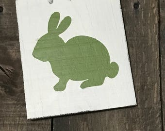 Green Bunny, Easter decor, Easter sign, spring decor, Bunny on reclaimed wood,