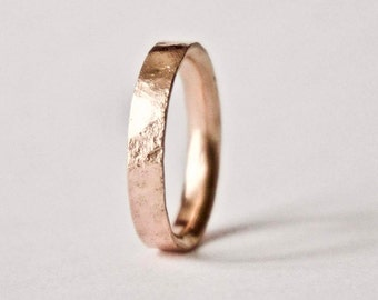 Rose Gold Ring with Distressed Texture - 9 Carat Gold Wedding Band -Organic Texture