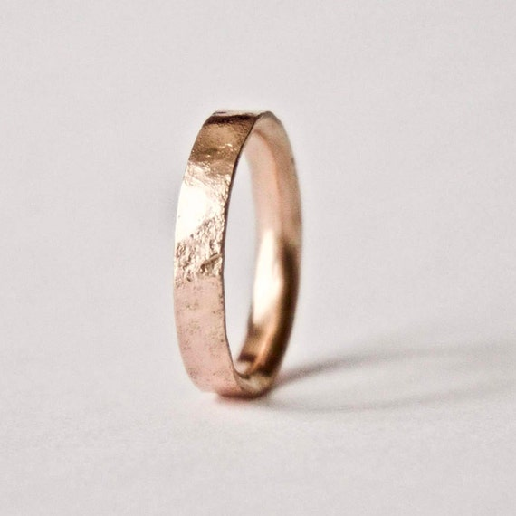 Rose Gold Ring with Distressed Texture - 9 Carat