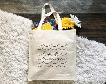 FREE SHIPPING Lake Bum Tote Bag, Canvas Tote Bag, Canvas Bag, Graphic Tote Bag, Summer Tote Bag, Tote Bag Canvas