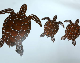 Sea Turtle Family Metal Wall Art/Beach Decor/Home Decor/Plasma Cut Metal Art