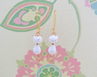 White Enamel and Gold Cat Charm Earrings - Ready to Ship