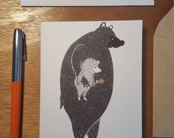Walking Together Bears Folded notecard 10 pack